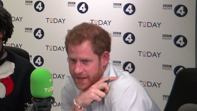 shows interior shots journalist and broadcaster justin webb introducing prince harry as guest editor of radio 4's today programme and chatting with... - bbc radio stock videos & royalty-free footage