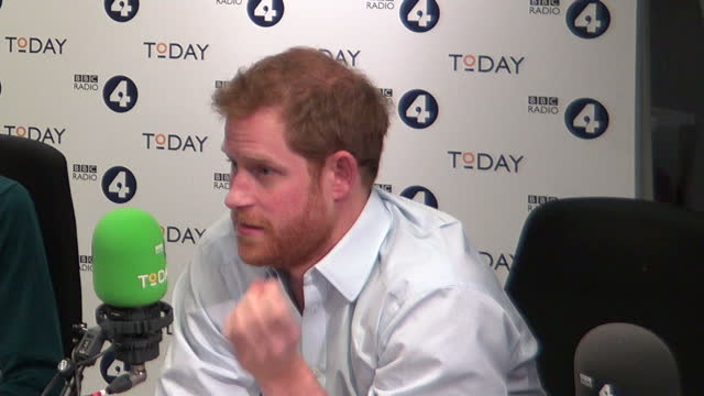 Shows interior shots journalist and broadcaster Sarah Montague interviewing Prince Harry at end of the Today Programme which he guest edited talking...
