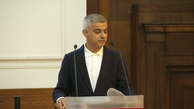 Shows interior shots London Mayor Sadiq Khan giving speech at Fabian Society soundbite on interruption from hecklers QUOTE 'It is a pleasure to be...