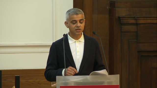 Shows interior shots London Mayor Sadiq Khan giving speech at the Fabian Society Conference soundbite on Fabian Society and Labour Party need to be...
