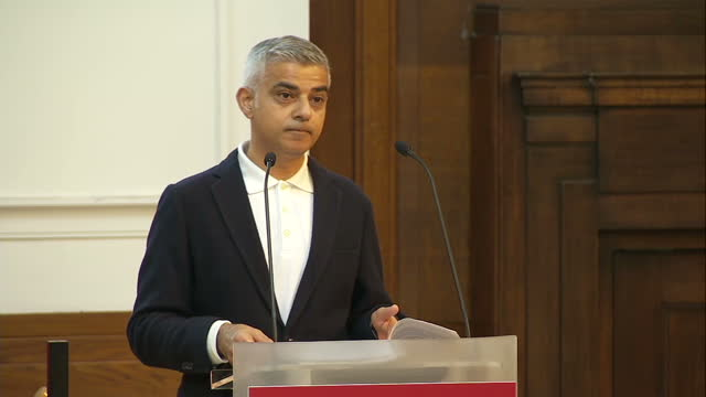 Shows interior shots London Mayor Sadiq Khan giving speech at the Fabian Society Conference soundbite on Women's suffrage and his 'Every Great City'...