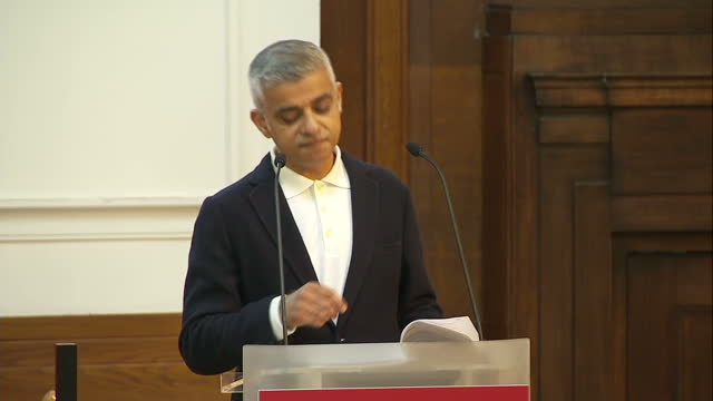 Shows interior shots London Mayor Sadiq Khan giving speech at the Fabian Society Conference soundbite on gender equality and progress made in...