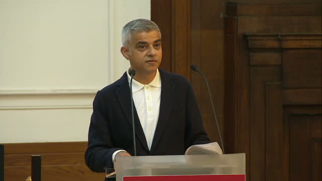 Shows interior shots London Mayor Sadiq Khan giving speech at the Fabian Society Conference soundbite on measures and efforts that can be made to...