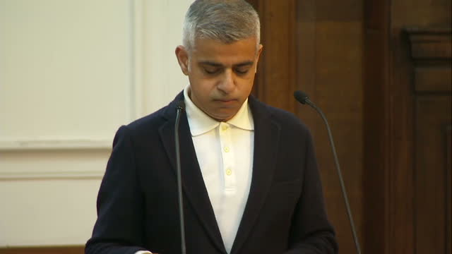 Shows interior shots London Mayor Sadiq Khan starting speech at Fabian Society Conference for the second time and making jokes about hecklers...