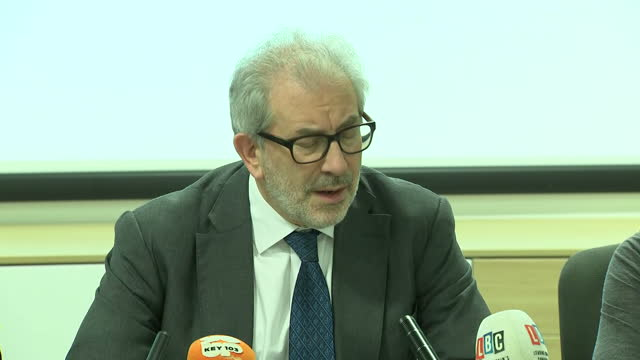 Shows interior shots Manchester Terror Attack Review Leader Lord Kerslake at press conference speaking on the media using social media to contact...