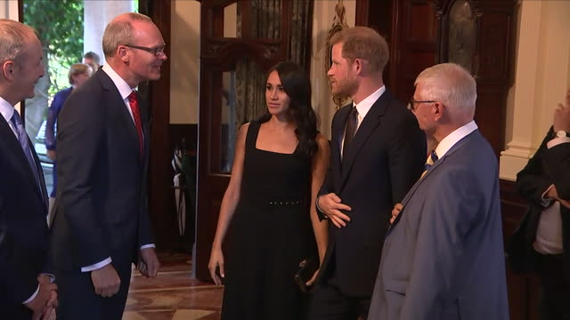 shows interior shots meghan duchess of sussex and prince harry duke of sussex arriving to attend a reception at glencairn the residence of robin... - アイルランド共和国点の映像素材/bロール