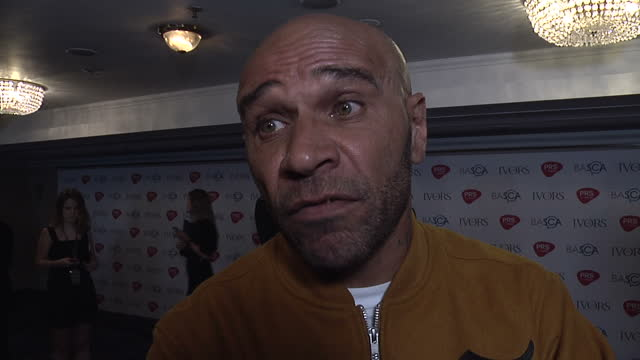 shows interior shots musican goldie interview on uk politics jeremy corbyn and grime artists supporting labour on 18th may 2017 in london england - goldie stock videos & royalty-free footage