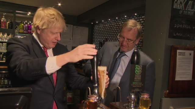shows interior shots new prime minister boris johnson mp visiting the sedgefield constituenc the tories won from labour and meeting newly elected mps... - built structure stock videos & royalty-free footage