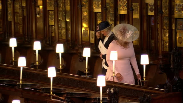 shows interior shots oprah winfrey looking for her seat in st george's chapel at the wedding of prince harry duke of sussex and meghan markle on the... - oprah winfrey stock videos & royalty-free footage