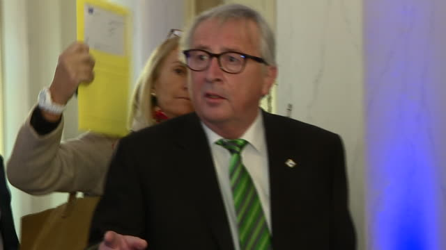 shows interior shots president of the european commission jean claude juncker theresa may heads to brussels to win concessions from eu leaders she is... - europäische kommission stock-videos und b-roll-filmmaterial
