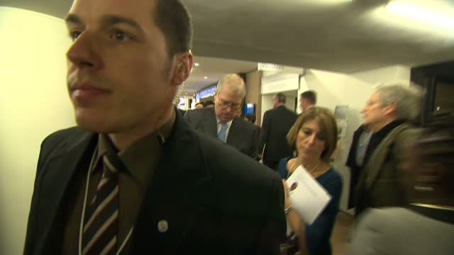Shows interior shots Prince Andrew arriving at World Economic Forum event on January 22 2015 in Davos Switzerland