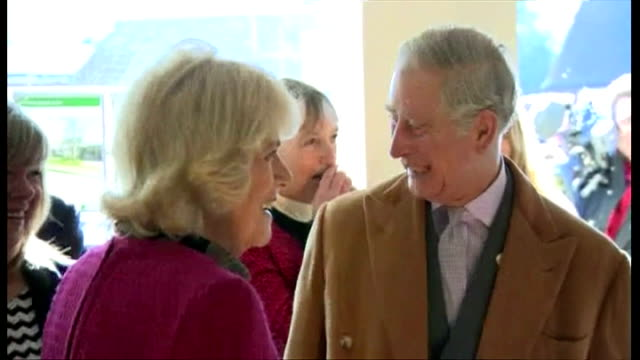 Shows interior shots Prince Charles and Camilla talking to local people in Estate Agents in Stamford Bridge The Prince of Wales is spending a second...