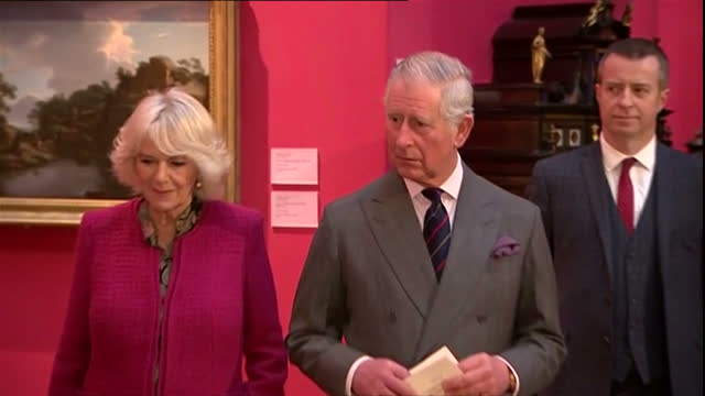 Shows interior shots Prince Charles Prince of Wales and Camilla Duchess of Cornwall listening to Cambridge University Vice Chancellor Proessor Sir...