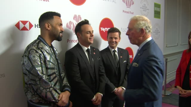 vídeos de stock e filmes b-roll de shows interior shots prince charles, prince of wales, meeting television presenters ant mcpartlin and declan donnelly and singer craig davidat the... - ant mcpartlin