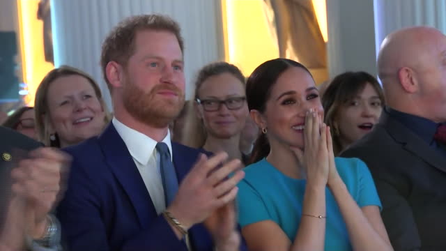 shows interior shots prince harry, duke of sussex and meghan, duchess of sussex, watching the award show including a surprise proposal at the... - award stock videos & royalty-free footage
