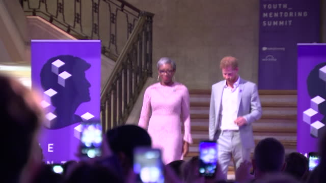 shows interior shots prince harry duke of sussex attending award show the duke of sussex will attend the diana award national youth mentoring summit... - attending stock videos and b-roll footage