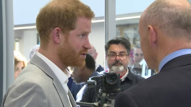shows interior shots prince harry duke of sussex talking to sir clive woodward and his wife lady jayne woodward the duke of sussex will open 'future'... - human age stock videos & royalty-free footage