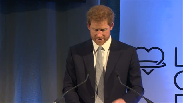 Shows interior shots Prince Harry giving speech at Leeds Leads Encouraging Young Minds event a charity fair and panel discussion on issues and...