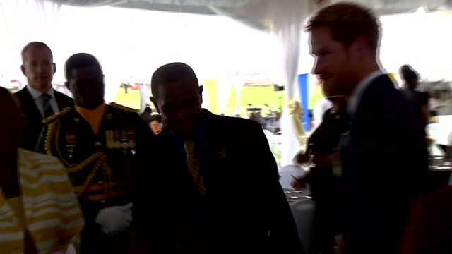 shows interior shots prince harry meeting barbadian superstar rihanna prince harry has met barbados's biggest star rihanna twice in a day at events... - 2016 stock-videos und b-roll-filmmaterial