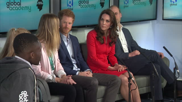 shows interior shots prince harry speaking during round table discussion on mental health with prince william catherine duchess of cambridge students... - round table discussion stock videos & royalty-free footage