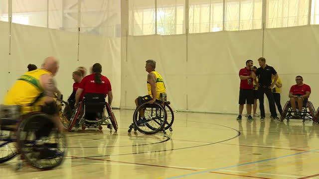 Shows interior shots Prince Harry talking to Invictus games competitors at various locations and shots of the athletes training Exterior shots actor...