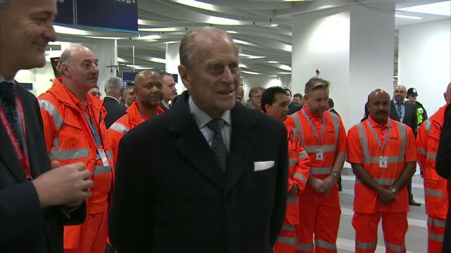 Shows Interior Shots Prince Philip Duke of Edinburgh meeting various members of the team behind the station revamp and station employees laughing and...