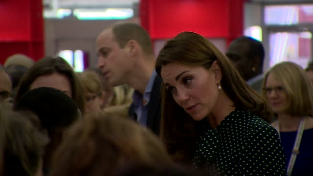 Shows interior shots Prince William Duke of Cambridge and Catherine Duchess of Cambridge arriving at Evelina London Children's Hospital shaking hands...