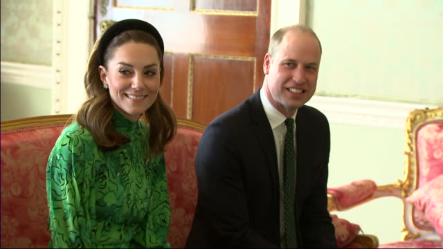 shows interior shots prince william, duke of cambridge, and catherine , duchess of cambridge, meeting irish president michael d. higgins, and his... - sitting stock videos & royalty-free footage