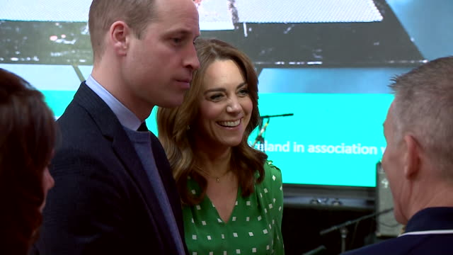 shows interior shots prince william, duke of cambridge, and catherine , duchess of cambridge, watching and meeting galway community circus... - dublin republic of ireland stock videos & royalty-free footage
