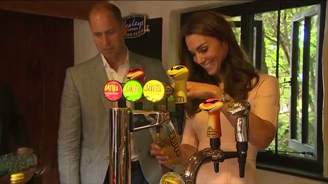 Shows interior shots Prince William Duke of Cambridge and Catherine Duchess of Cambridge touring Healey's Cornish Cyder Farm in Penhallow Kate...