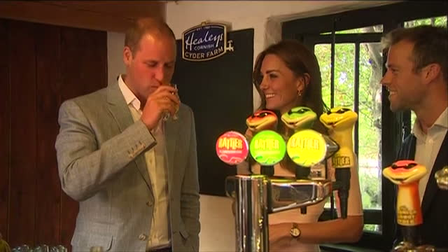 Shows interior shots Prince William Duke of Cambridge and Catherine Duchess of Cambridge touring Healey's Cornish Cyder Farm in Penhallow sampling...