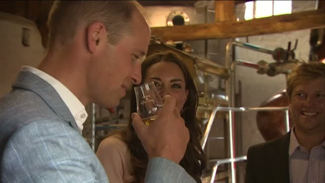 shows interior shots prince william duke of cambridge and catherine duchess of cambridge touring healey's cornish cyder farm in penhallow and... - herzog von cambridge stock-videos und b-roll-filmmaterial