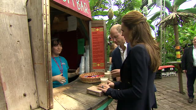 Shows interior shots Prince William Duke of Cambridge and Catherine Duchess of Cambridge sampling smoothies at The Eden Project near St Blazey in...