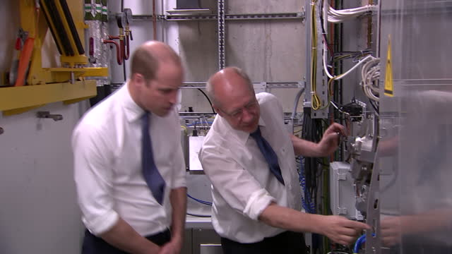 Shows interior shots Prince William Duke of Cambridge being shown the workings of an MR Linac machine by Professor Uwe Oelfke the new technology is...