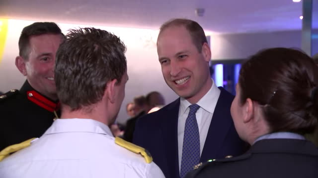 shows interior shots prince william, duke of cambridge, meeting emergency workers while attending the reception at the guinness storehouse in the... - robin day stock videos & royalty-free footage