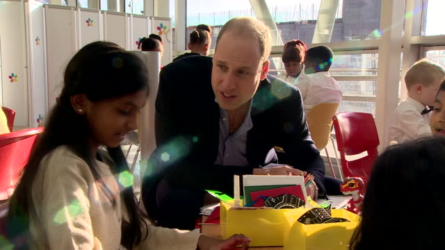 Shows interior shots Prince William Duke of Cambridge talking to parents and children at Evelina London Children's Hospital on 11th December 2018 in...
