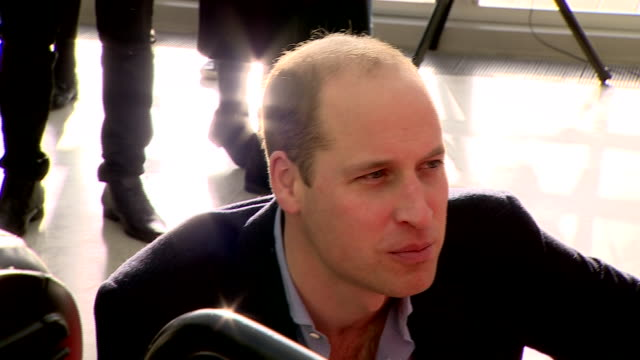 Shows interior shots Prince William Duke of Cambridge talking to patients at Evelina London Children's Hospital on 11th December 2018 in London...