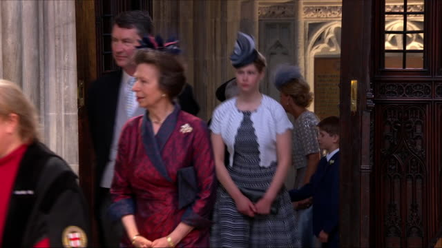 shows interior shots princess anne princess royal with her husband vice admiral sir timothy laurence followed by lady louise windsor sophie countess... - lady louise windsor stock videos and b-roll footage