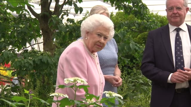 shows interior shots queen elizabeth ii being introduced to and talking to some of the display gardeners at the chelsea flower show on 21st may, 2018... - festival dei fiori di chelsea video stock e b–roll