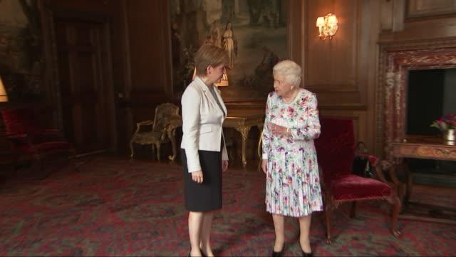 shows interior shots queen elizabeth ii meeting scottish first minister nicola sturgeon msp on 3rd july 2019 in edinburgh scotland united kingdom - religion stock videos & royalty-free footage