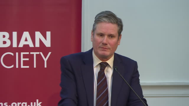 shows interior shots shadow brexit secretary sir keir starmer speaks at fabian society new year conference in london including soundbites on... - pressure point stock videos & royalty-free footage