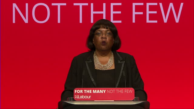shows interior shots shadow home secretary and labour mp diane abbott giving speech at labour party conference soundbites on grenfell tower fire and... - diane abbott stock videos & royalty-free footage