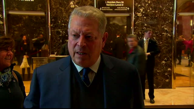 shows interior shots soundbite with former vice president al gore speaking on meeting donald trump donald trump meets al gore in bid to 'find common... - gore stock videos and b-roll footage