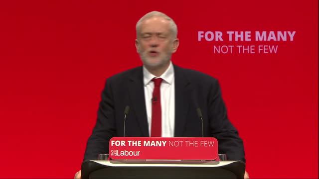 Shows interior shots speech soundbite from UK Labour Party Leader Jeremy Corbyn speaking on Labour is ready for government at the Labour Party...