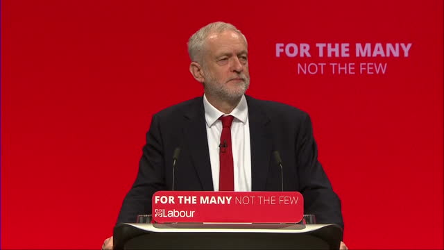 Shows interior shots speech soundbite from UK Labour Party Leader Jeremy Corbyn speaking on Labour ready for Government SAYS 'It's a result which has...