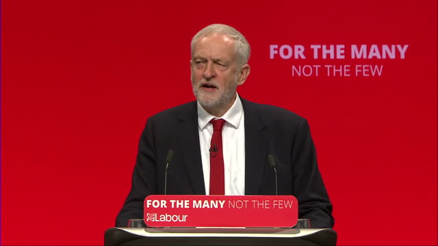 Shows interior shots speech soundbite from UK Labour Party Leader Jeremy Corbyn speakig on rent control and measures to increase house building SAYS...
