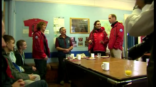 Shows interior shots the Duke Duchess of Cambridge talking with Mountain Rescue volunteers at the Towers outdoor education centre on November 20 2015...