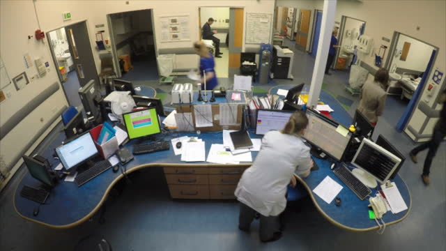 shows interior shots timelapse reception desk of busy hospital ward interionr shots nurses working in hospital exterior shots uk health secretary... - 2016 european union referendum stock videos and b-roll footage