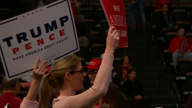shows interior shots trump supporters families holding signs during trump's speech and wearing hillary for prison tshirts presidentelect donald trump... - running for election stock videos and b-roll footage