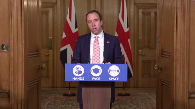 shows interior shots uk health secretary matt hancock mp giving press conference speaking on rise of covid 19 infections, more areas to enter the... - new stock videos & royalty-free footage